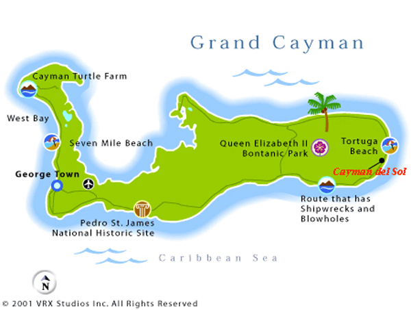 Map of Grand Cayman showing Cayman del Sol